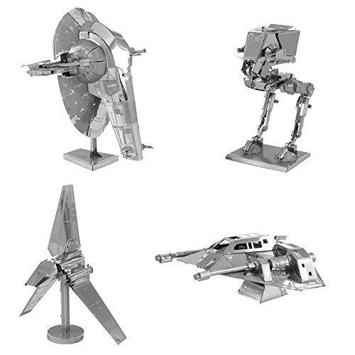 (Metal Earth 3D Model Kits Star Wars Set of 4 Snowspeeder - Imperial Shuttle - Slave 1 - AT-ST)