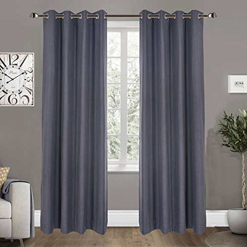 100% Blackout Curtains 1-Panel for Bedroom Living Room -Thermal Insulated Water Resistance Top Window Drapes, Steal Grey, 52 x 84 Inches