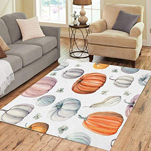 Semtomn Area Rug 5' X 7' Autumn Watercolor Pumpkins It is Thanksgiving Halloween Recipe Food Home Decor Collection Floor Rugs Carpet for Living Room Bedroom Dining Room