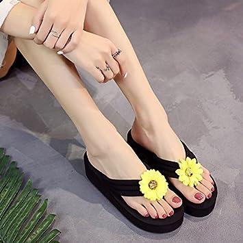 LGK&FA High Heel Flip Flops Mit Dicken Sohlen Muffin Weiblichen Rutschfeste Hausschuhe Mode Sandalen 39 Schwarz (Mittlere Heel) PRkQOrV