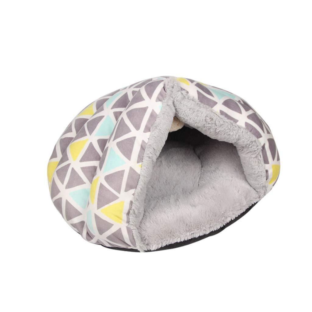 Large Soft Geometric Figure Pet Nest Four Seasons Universal Triangle Semi-closed Can Be Small And Medium Velvet Cat Kennel Villa Warm Cushion HAODAMAI (Size   L)