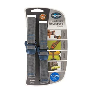 """Sea to Summit Accessory Strap with Hook Release pair (20MM / 3/4"""" Webbing by 1.5M Long) Color May Vary"""