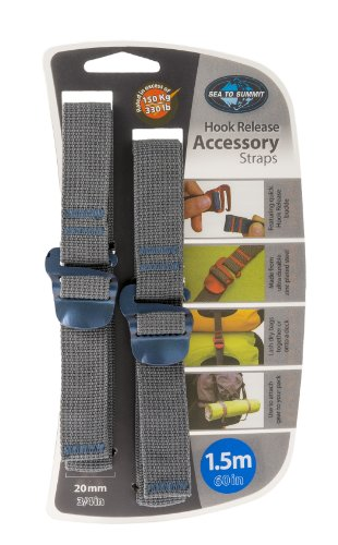 Sea to Summit Accessory Strap with Hook Release - pair (20MM / 3/4'' Webbing by 1.5M Long) - Color May Vary by Sea to Summit