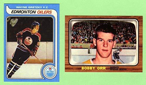 Wayne Gretzky 1979 and Bobby Orr 1966 Hockey Reprint Rookie (2) Card Lot (Edmonton) (Los Angeles) (Boston)