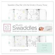SwaddleDesigns Cotton Muslin Swaddle Blankets, Set of 4, Sterling Goodnight Starshine