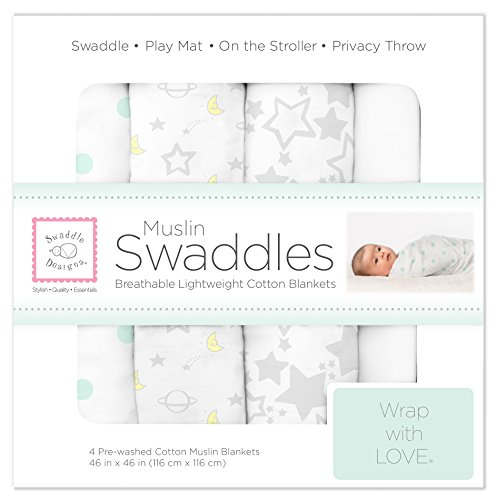 SwaddleDesigns Cotton Muslin Swaddle Blankets, Set of 4, Goodnight Starshine (Parents' Picks Award Winner) ()