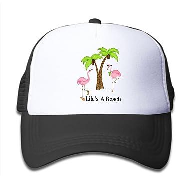 939cb8f3b3d5d7 Amazon.com: Mldjkifgo Life's A Beach Flamingo Children Grid Hat Trucker Cap  for Boys Girls: Clothing
