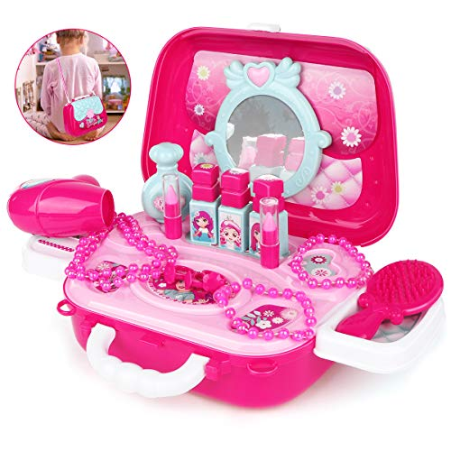 Girl Toys Kids Makeup Set Plastic Pretend Play Vanity Non-Toxic Cosmetic Suitcase Beauty Kit Little Princess Fashion Hair Salon Gift for Toddlers Age 2 3 4 5 6 Year Olds