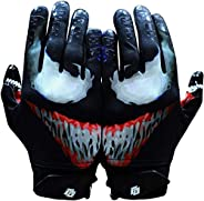 Taqcha Villian Football Gloves - Tacky Grip Skin Tight Adult Football Gloves - Enhanced Performance Football G