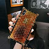 KAPADSON for iPhone 6 Plus / 6s Plus Newest Bling Fish Scale Glitter Skin Design TPU+ PU Leather Gold Square Corner Back Case - Gold