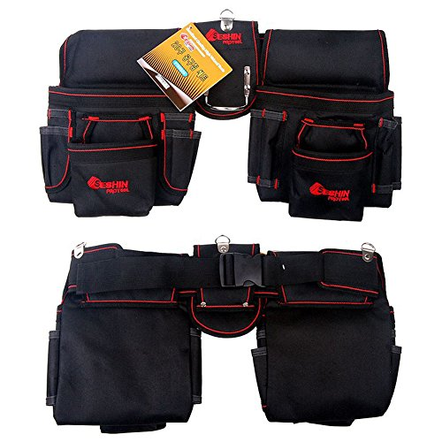 Electrical Maintenance Tool Belt & Bag Set - Includes 2 Pouches (20 POCKET), Belt, Hammer Loop, Heavy Duty, Premium Quality, Durable (Red) - Red Combo Belt