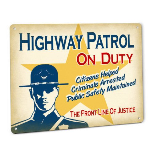 ShopForAllYou vintage decor wall signs Highway Patrol On Duty Sign Male CHP Law Officer w/Badge Smokey The Bear Hat