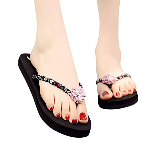 3e5e3b98f32 Amazon.com  ℱLOVESOℱ Summer Bohemian Flip Flops Womens Sandals Clip Toe Home  Slippers Ladies  Flat Beach Shoes  Clothing