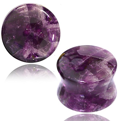 - Earth Accessories Flared Saddle Expander Crystal/Stone Plug Earrings - with Amethyst, Rose Quartz, Jade, Turquoise, and More - Sold as Pair