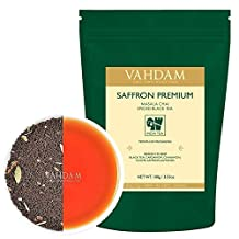 Saffron Tea, Imperial Masala Chai (40 Cups), Premium Assam Black Tea blended with 100% Original Kashmiri Saffron, Cardamom, Cinnamon, Cloves & Black Pepper, India's Original House Recipe, 3.53oz