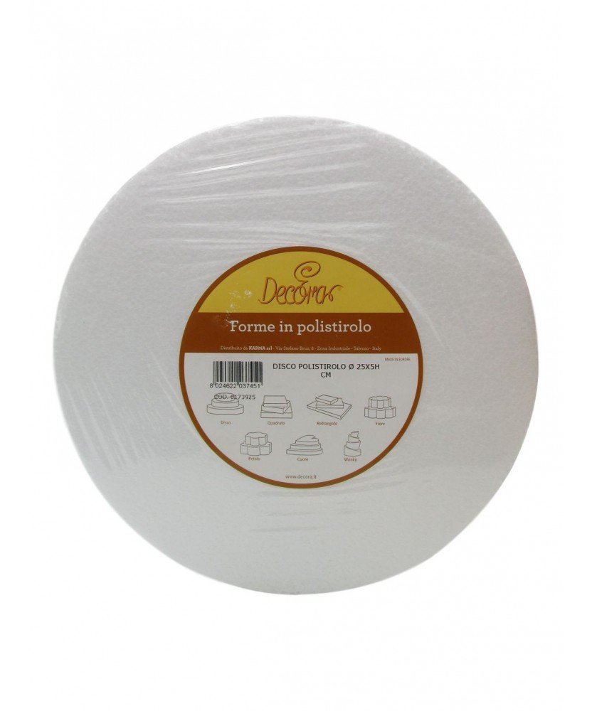 DECORA poliestireno Disco Forma Chupete para decoración de Pasteles, Blanco, poliestireno, Hueso, 25 x 5 cm