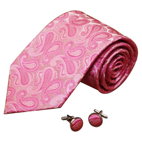 A1001 Hot Pink Patterned World Wide Presents Mens Wholesale For Father Silk Tie Cufflinks Set 2PT By Y&G