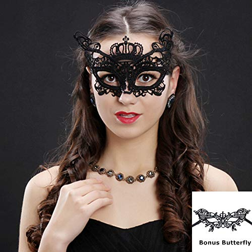 Cute 2 Pack One Fits For All Lace Mask For Masquerade Ball, Theme Party,Halloween Party,Office Masquerade Party,Mardi -