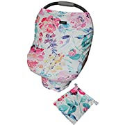 Multi-Use Baby Car Seat Canopy Cover | Nursing, Breastfeeding Cover | Unique Baby Gift (Floral)