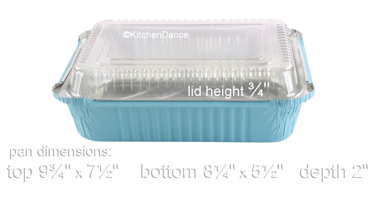 KitchenDance Disposable Colored Aluminum 3.75 Pound Take Out Pans. Color and Lid Options (with Plastic Lids, Blue, 25) by KitchenDance.com (Image #3)