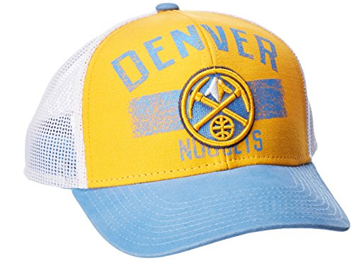fan products of NBA Denver Nuggets Men's Downtown Trucker Meshback Hat, Gold, One Size