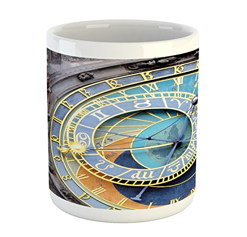 Ambesonne Clock Mug, Prague Astronomical Clock in The Old Town an European Medieval Landmark of City, Printed Ceramic Coffee Mug Water Tea Drinks Cup, Blue and Yellow