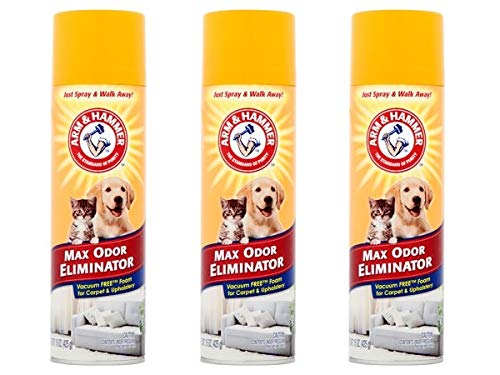 Arm & Hammer Max Odor Eliminator Vacuum Free Foam for Carpet and Upholstery, 15 oz (Pack of 3)