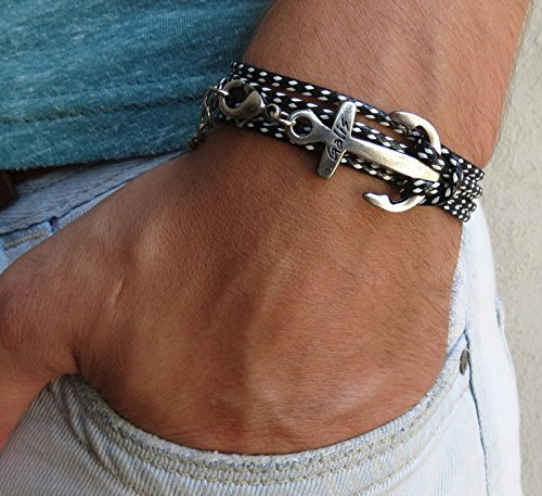 Handmade Wrap Black Bracelet For Men Set With Silver Plated Anchor Pendant By Galis Jewelry - Anchor Bracelet For Men - Wrap Bracelet For Men