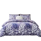 Purple and White Duvet Sets SUSYBAO 3 Pieces Duvet Cover Set 100% Natural Cotton King Size Purple White Tropical Palm Tree Leaves Bedding with Zipper Ties 1 Duvet Cover 2 Pillowcases Luxury Quality Soft Durable Comfortable
