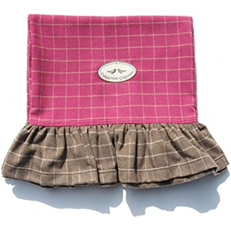 Throw Shiver Pink And Taupe Soft Comfortable Woolen Plaid With Ruffles