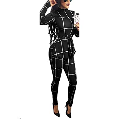 bc4725fd875a Image Unavailable. Image not available for. Color  Women s Casual One Piece  Plaid Striped Bodycon Long Pants Jumpsuits Romper