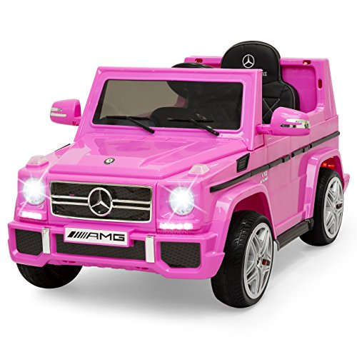 Best Choice Products 12V Kids Battery Powered Licensed Mercedes-Benz G65 SUV RC Ride-On Car w/ Parent Control, Built-in Speakers, LED Lights, AUX, 2 Speeds - Pink