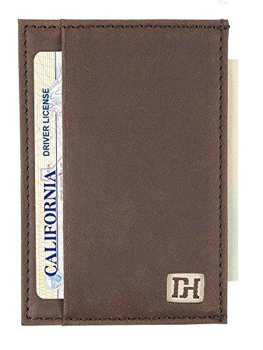 Mens Wallets - Credit Card Holder Front Pocket Wallets for Men - Thin Slim Leather Wallets for Men (Brown Leather/Brown Thread)