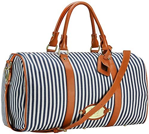LXY Womens Overnight Weekender Travel Bag Canvas Duffle Bag Carry on Tote Luggage Underseat Bag Blue