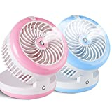 Huluwa Personal Fan Cooling Misting Fan, Portable USB Rechargeable Fan, Power Bank, Table Desk Mini Humidifier, Multifunction 3 in 1, Blue