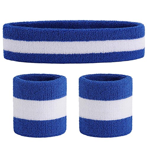 OnUpgo Sweatband Set (3 Pieces) Headband and Wristbands for Women Men and Kids- Perfect for Running Cycling Tennis Football Basketball and All Sports