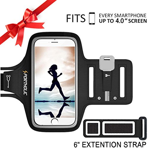 PORTHOLIC Universel Brassard de Sport Anti-Sueur- Pour iPhone 5/5C/5S/se/4/4s,Samsung, Android Jusqu'à 4.0 Pouces -Avec Sangle Ajustable- Avec Porte-Clés,Attache pour Câble, Porte-Cartes (Noir)