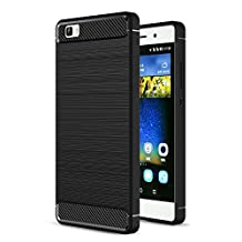 MOONCASE Huawei P8 Lite Case, Carbon Fiber Resilient [Drop Protection] [Anti-Scratch] Rugged Armor Case Cover for Huawei P8 Lite Black