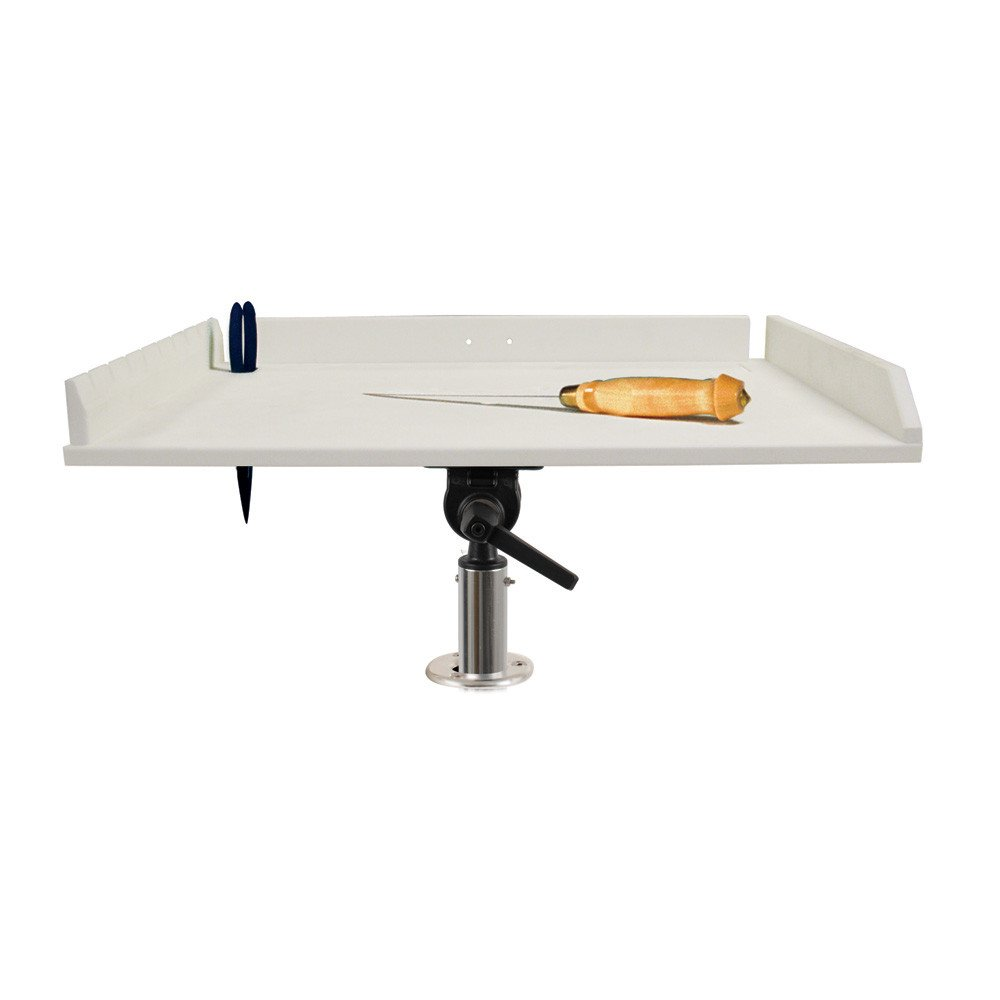 TACO 32'' Poly Filet Table w/Adjustable Gunnel Mount - White by Taco Metals