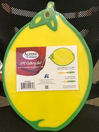 Lemon Shaped Cutting Board With Matching Utility & Paring ()