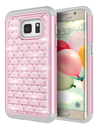 - Galaxy S7 Edge Case, Jeylly [Diamond Star] Drop-Protection Hard PC Soft Silicone Combo Hybrid Impact Defender Case Studded Rhinestone Crystal Bling Cover for Galaxy S7 Edge S VII Edge G935 - Pink