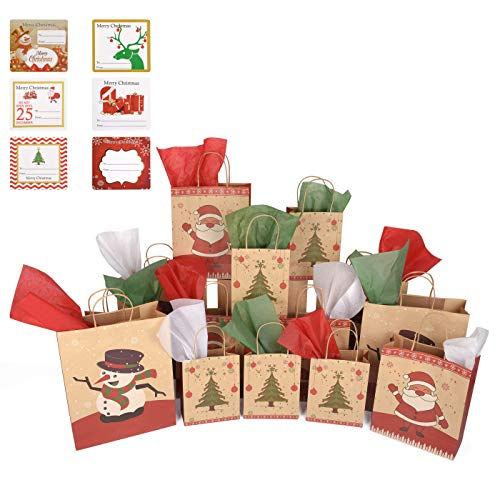 Christmas Gift Bags Holiday Kraft Paper Bag Presents Bulk (45 Pieces) - 15 Count Small, Medium, Large Includes Tissue Paper and Gift Tag Sticker Labels | Red, White, Green, Santa Claus, Snowman, Tree