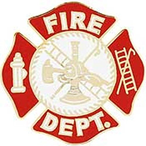 Fire Dept Maltese Cross Firefighter Collar Lapel Scramble Lapel Pin (Single - Fire Dept Jackets