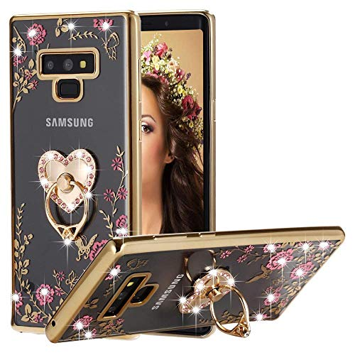 Galaxy Note 9 Case Ring Holder, Miniko(TM) Soft Slim Bling Rhinestone Floral Crystal TPU Plating Rubber Glitter Case Cover with Detachable 360 Finger Kickstand Bling Ring Holder for Galaxy Note ()