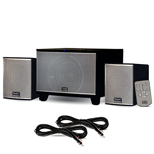 Theater Solutions TS220 Powered Bluetooth 2.1 Speaker System with FM Tuner and 2 Extension Cables