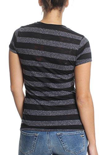 Superdry Damen T-Shirt VINTAGE LOGO STRIPE Black Charcoal Marl