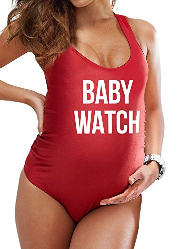 ZXZY Women Plus Size Letter Print Swimsuit Baby Watch One Piece Swimwear for Pregnant