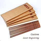 100 Pairs Pau Rosa wood chopsticks with custom Laser engraving for wedding dining