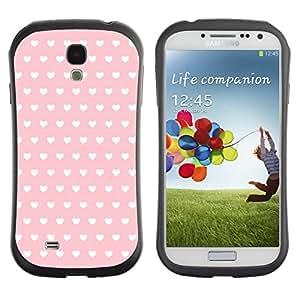 Fuerte Suave TPU GEL Caso Carcasa de Protección Funda para Samsung Galaxy S4 I9500 / Business Style polka dot pattern wallpaper heart pink