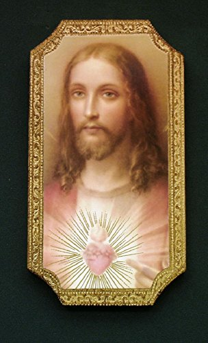 Sacred Heart of Jesus Florentine Plaque, 4.75 x 9 inches. Made in Italy. by GSV001